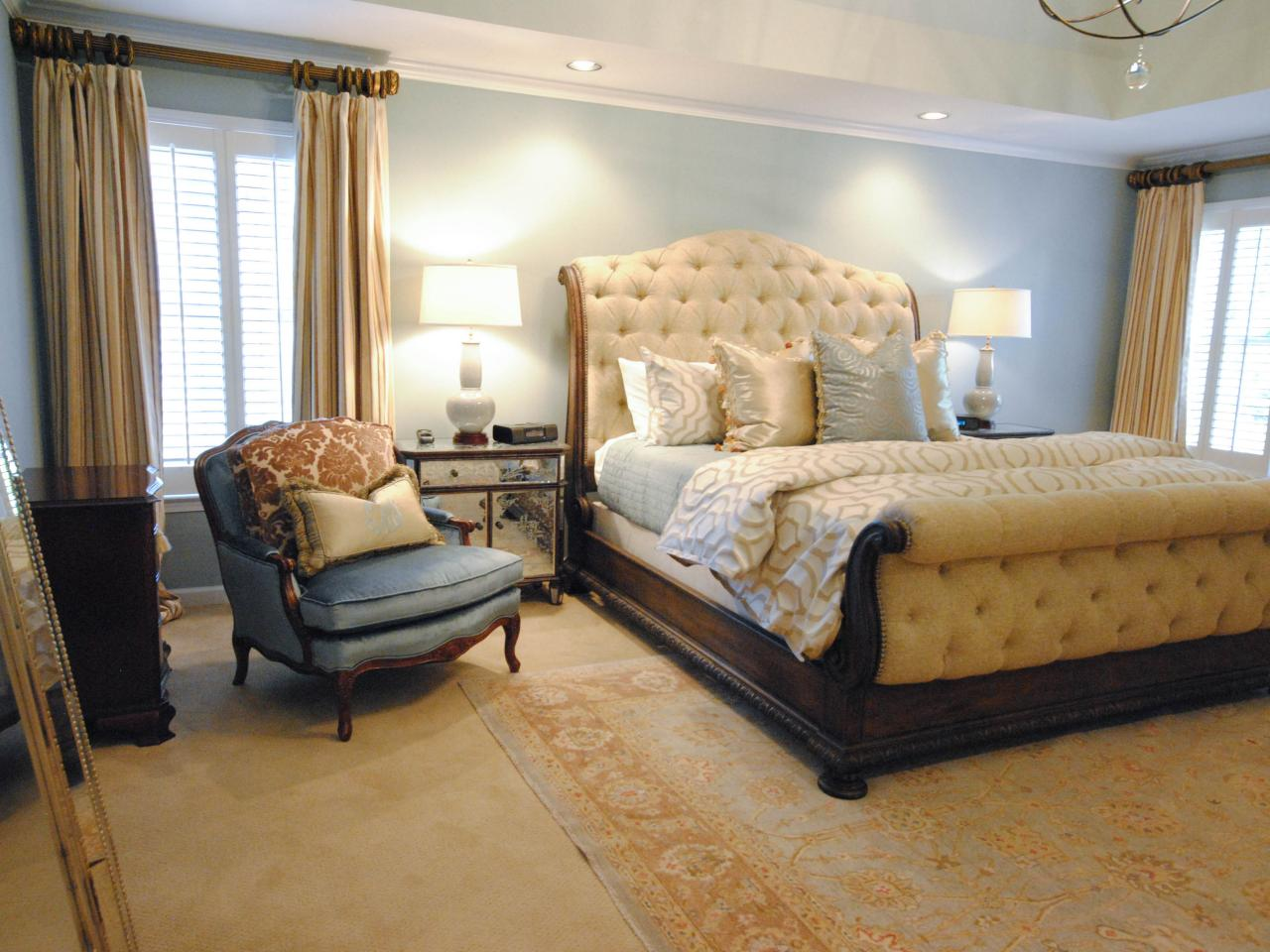 Yellow gray master bedroom paisley mcdonald hgtv for Master bedrooms