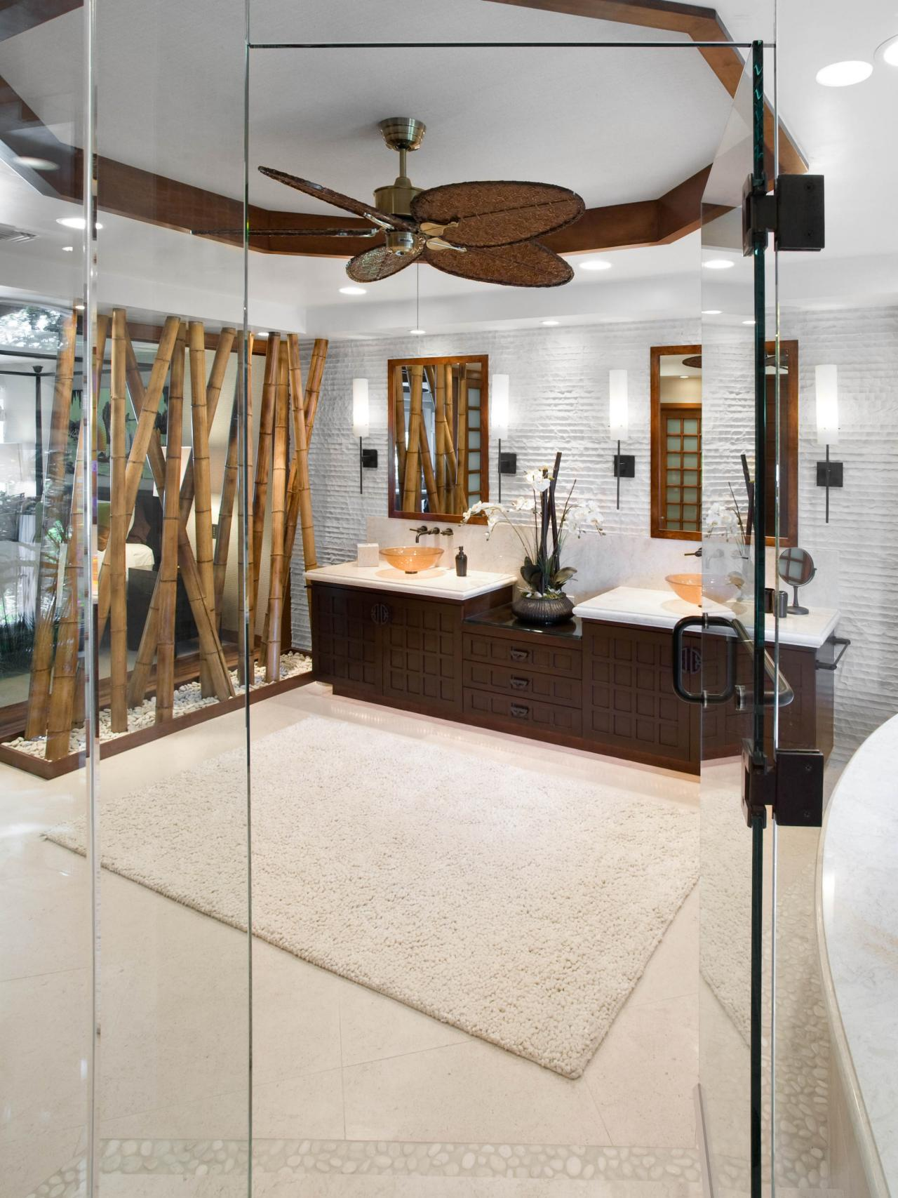 master bathroom vanity with vessel sinks and bamboo decor