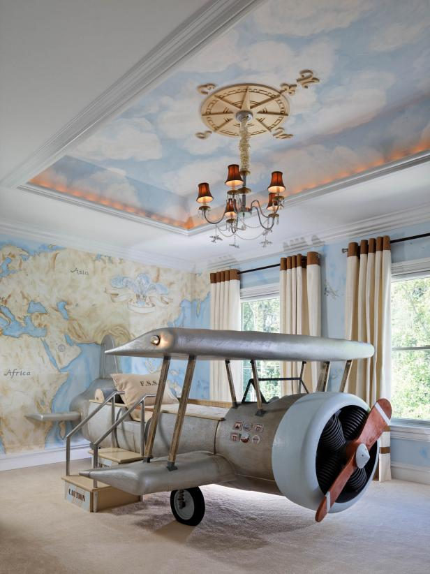 Kid's Bedroom With Airplane-Shaped Bed, Map Mural and Tray Ceiling