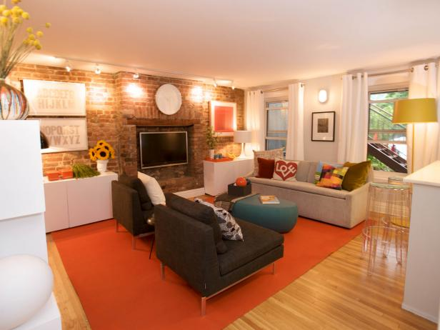 Modern Living Room with Exposed Brick Wall