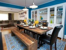 Contemporary Dining Room With Peacock Blue Walls