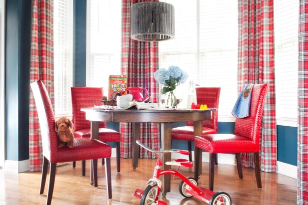 Eclectic, Blue and Red Dining Room