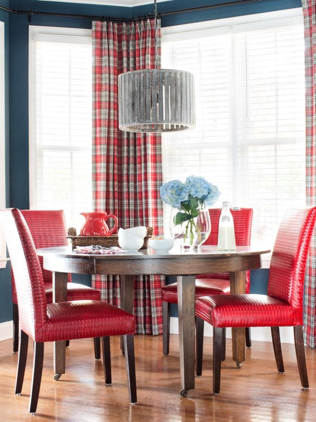 Dark Blue Dining Room With Plaid Curtains, Red Chairs And Rustic Light