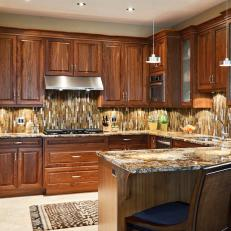 vertical tile backsplash in traditional kitchen