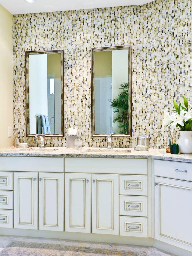 Bright Bathroom with Mosaic Wall and Double Vertical Mirrors