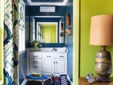 Apple Green Guest Room With Navy Blue Powder Room