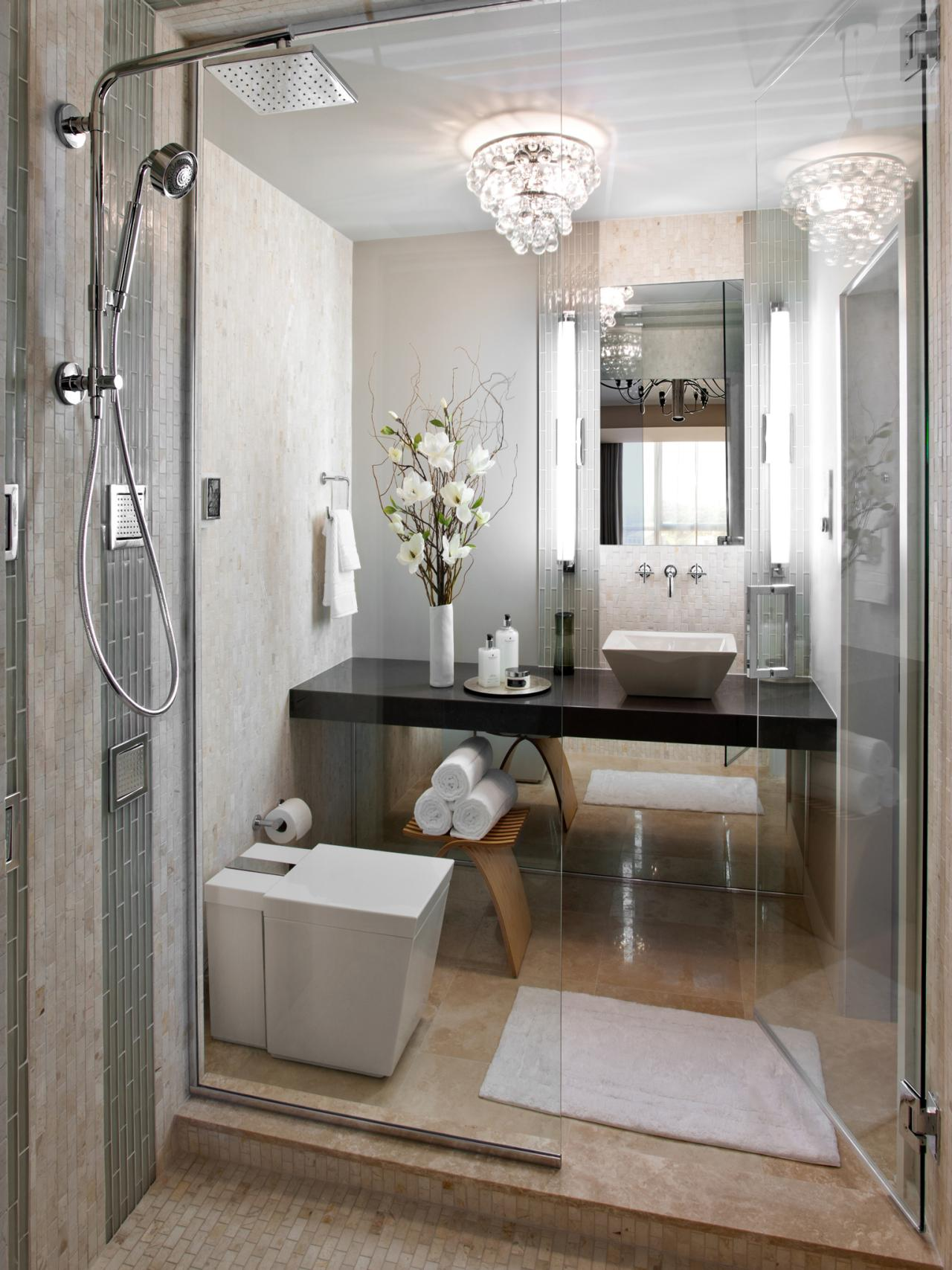 A sleek space with furnishings pared down the master for Modern small bathroom designs 2013