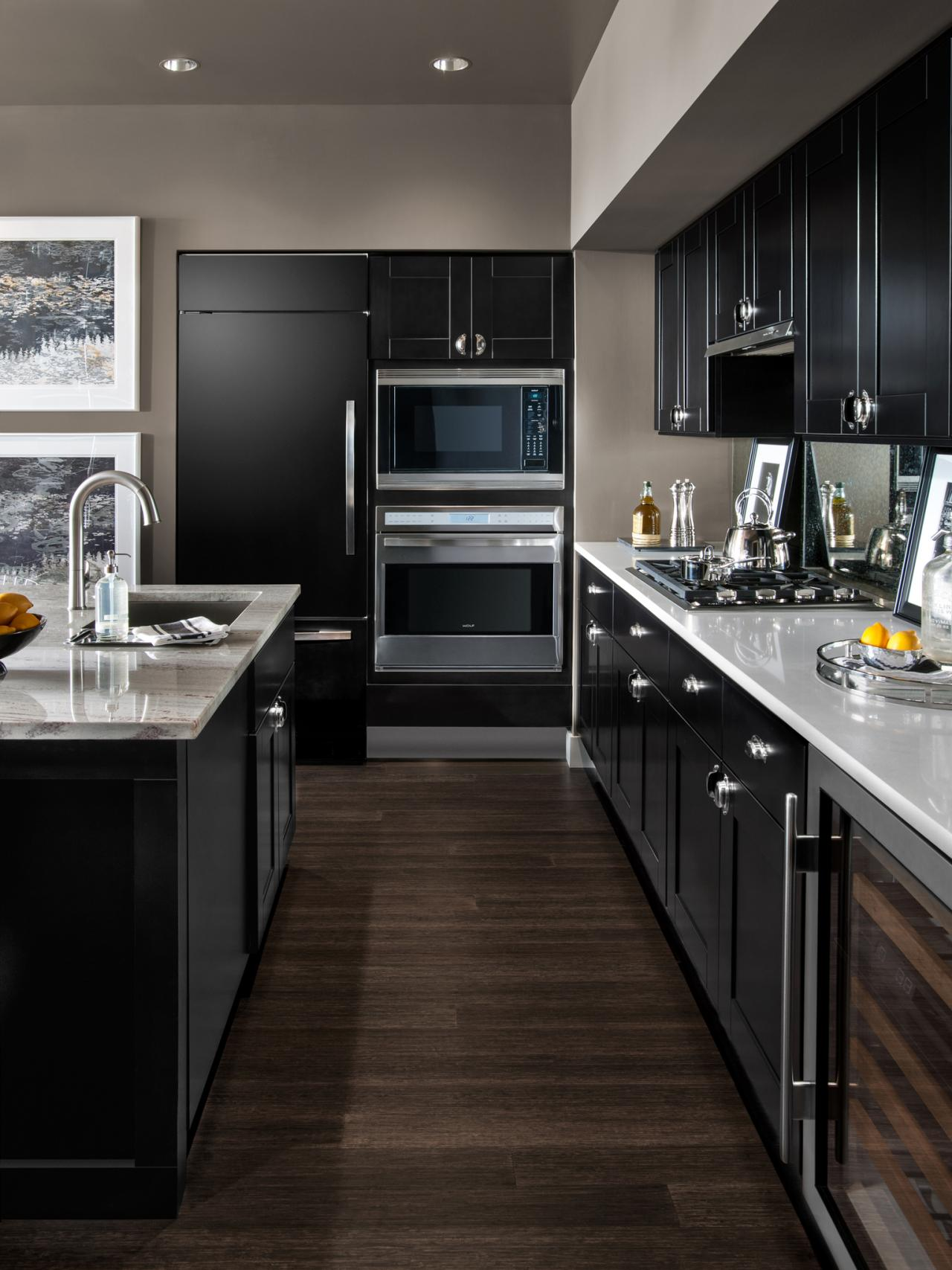 Small modern kitchen design ideas hgtv pictures tips for Black white and gray kitchen design