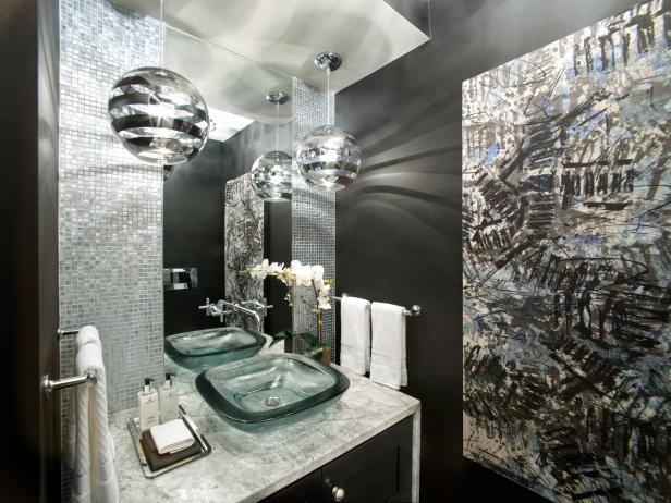 Stunning Black & White Powder Room