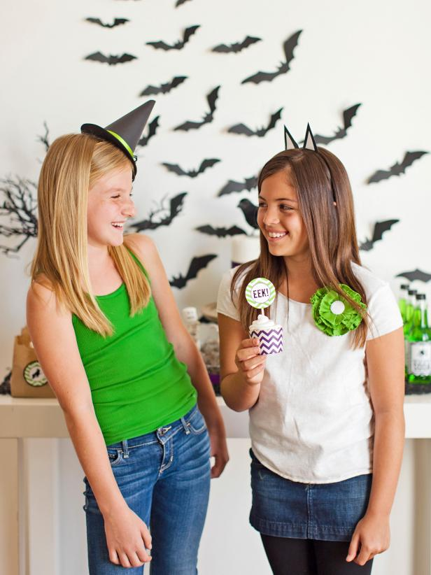 Turn plain headbands into fun Halloween party favors and costume props with card-stock cat ears or a tiny witch's hat.