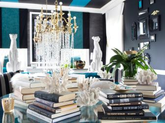 Stacked Book Display in Glam Living Room