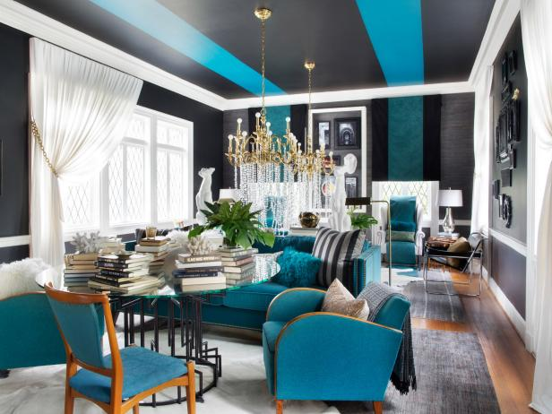 Blue Black White Gold Living Room