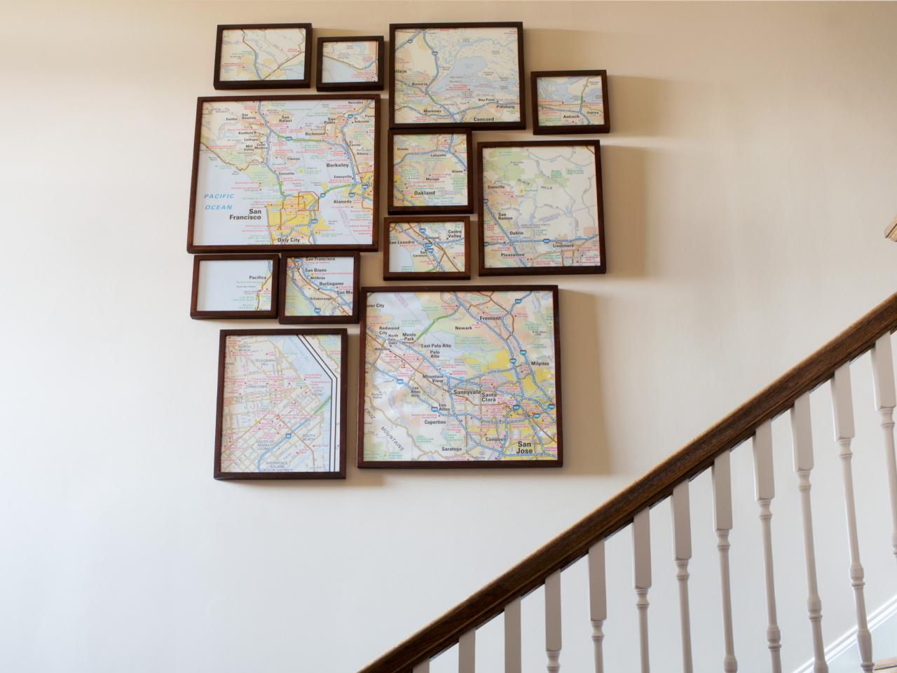 Multi Frame Wall Art how to create fractured, framed map art | hgtv
