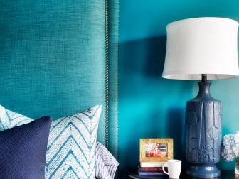 Blue Bedroom With Teal Upholstered Headboard