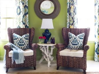 Seating Area Inside a Green Guest Bedroom