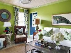 Eclectic Grass Green Living Room