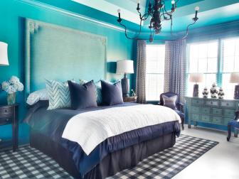 Blue Bedroom With Huge Nailhead Trim Headboard