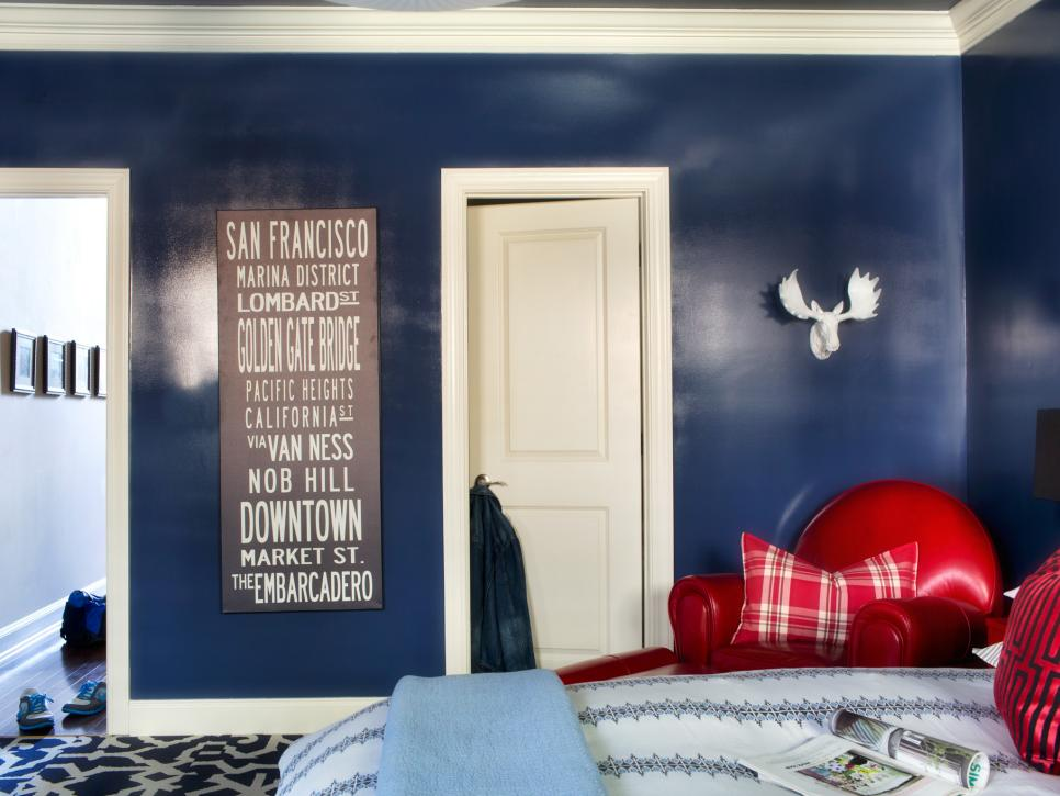 Bedroom Colors Blue And Red master bedroom design for a bachelor | hgtv