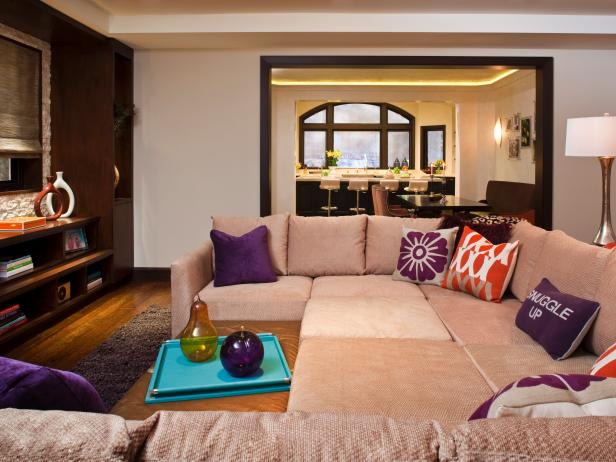 Photo page hgtv - Purple and tan living room ...