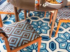 Vintage Dining Room With Orange Geometric Upholstered Chairs