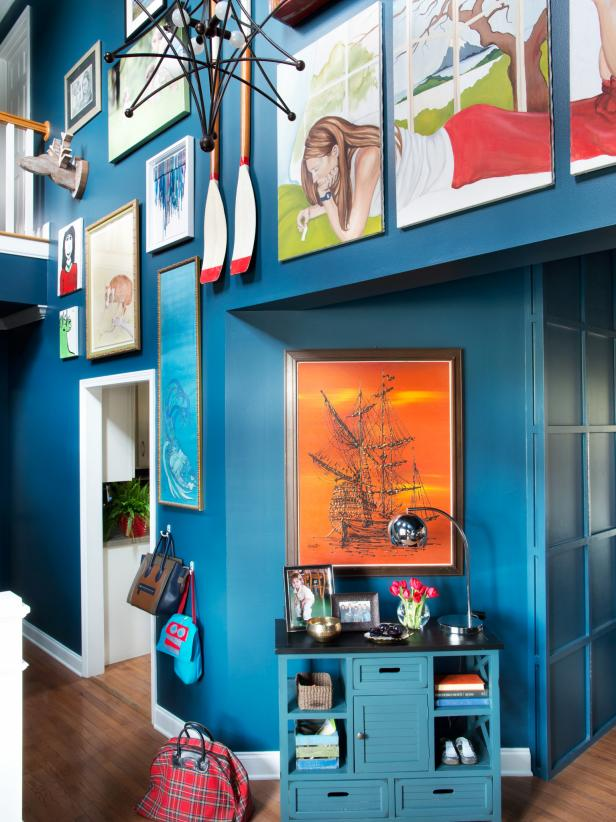 Colorful Entryway Art Gallery Wall