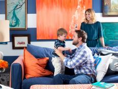 Kid And Pet Friendly Living Room With Colorful Artwork