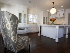 Traditional White Kitchen With Pattern Accent Chair
