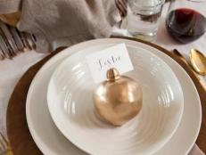 Layered Thanksgiving Place Setting With Pomegranate Place Card