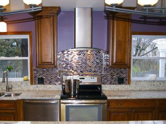 Purple and Brown Kitchen With Iridescent Backsplash