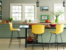 Transitional Eat-In Kitchen with Yellow and Black Chairs