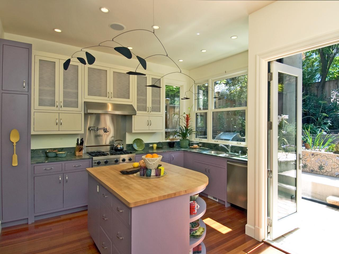pale lavender kitchen with mobile this contemporary kitchen features
