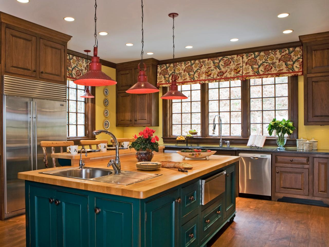 30 colorful kitchen design ideas from hgtv kitchen ideas design with cabinets islands - Kitchen island color ideas ...