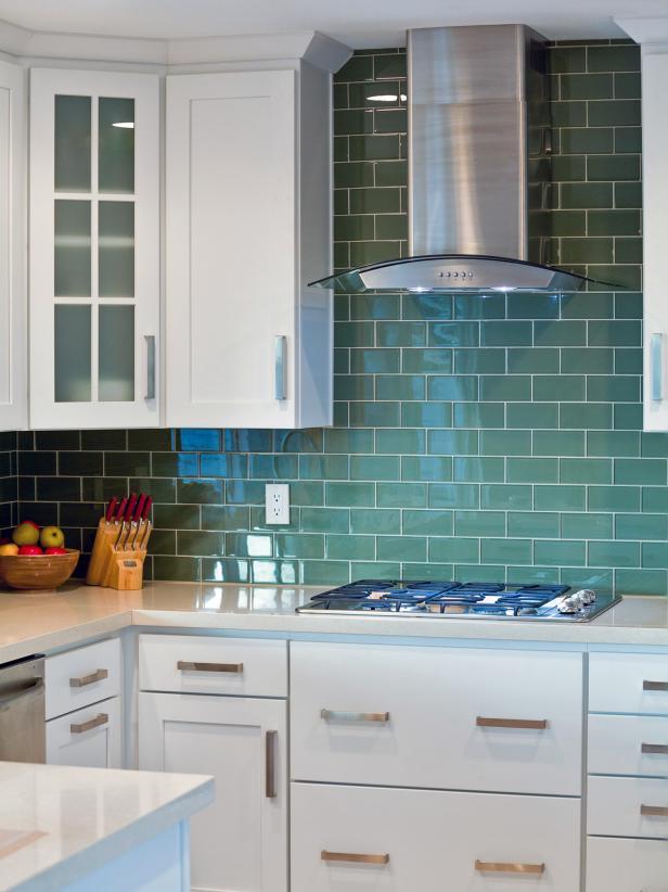 White Kitchen With Olive Green Tile Backsplash