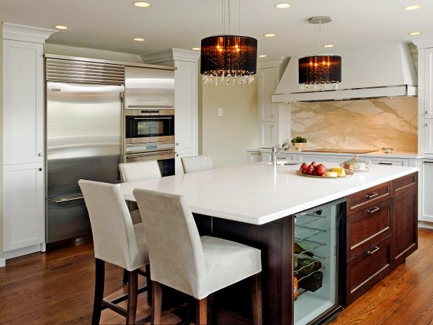 Contemporary White Kitchen, Large Island and Elegant Pendant Lights