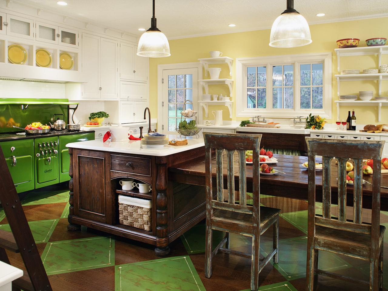 Green vintage inspired kitchen regina bilotta hgtv for Yellow green kitchen ideas