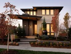 Inspired by the architecture of Frank Lloyd Wright and combined with subtle nods to airplane design, the front facade of HGTV Green Home serves up both style and comfort.