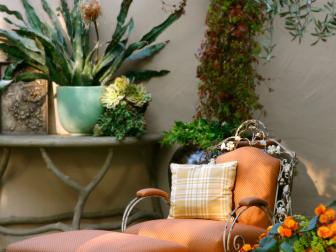 Antique Lounge Chair in a Patio Garden