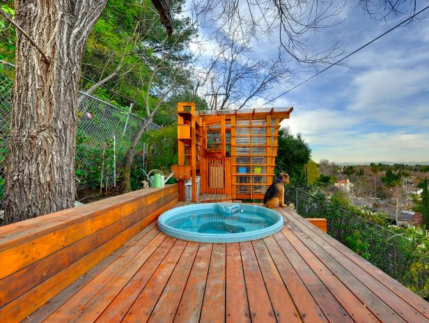 Contemporary Wood Terrace With Hot Tub, Potting Shed & City View