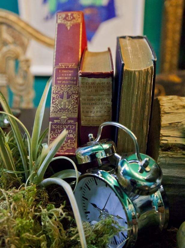 Vintage Books with Alarm Clock