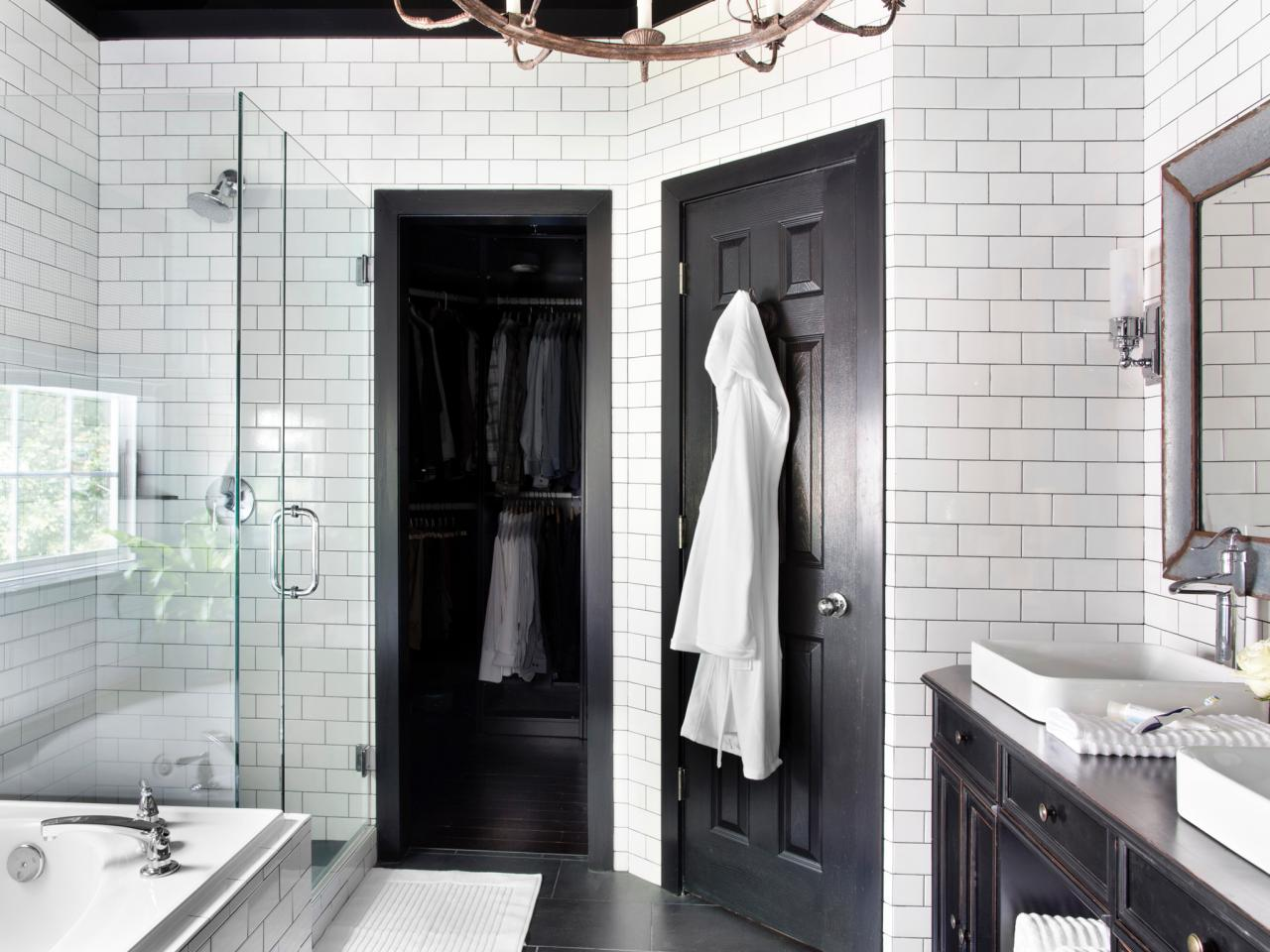 Http Www Hgtv Com Design Rooms Bathrooms Timeless Black And White Master Bathroom Makeover Pictures