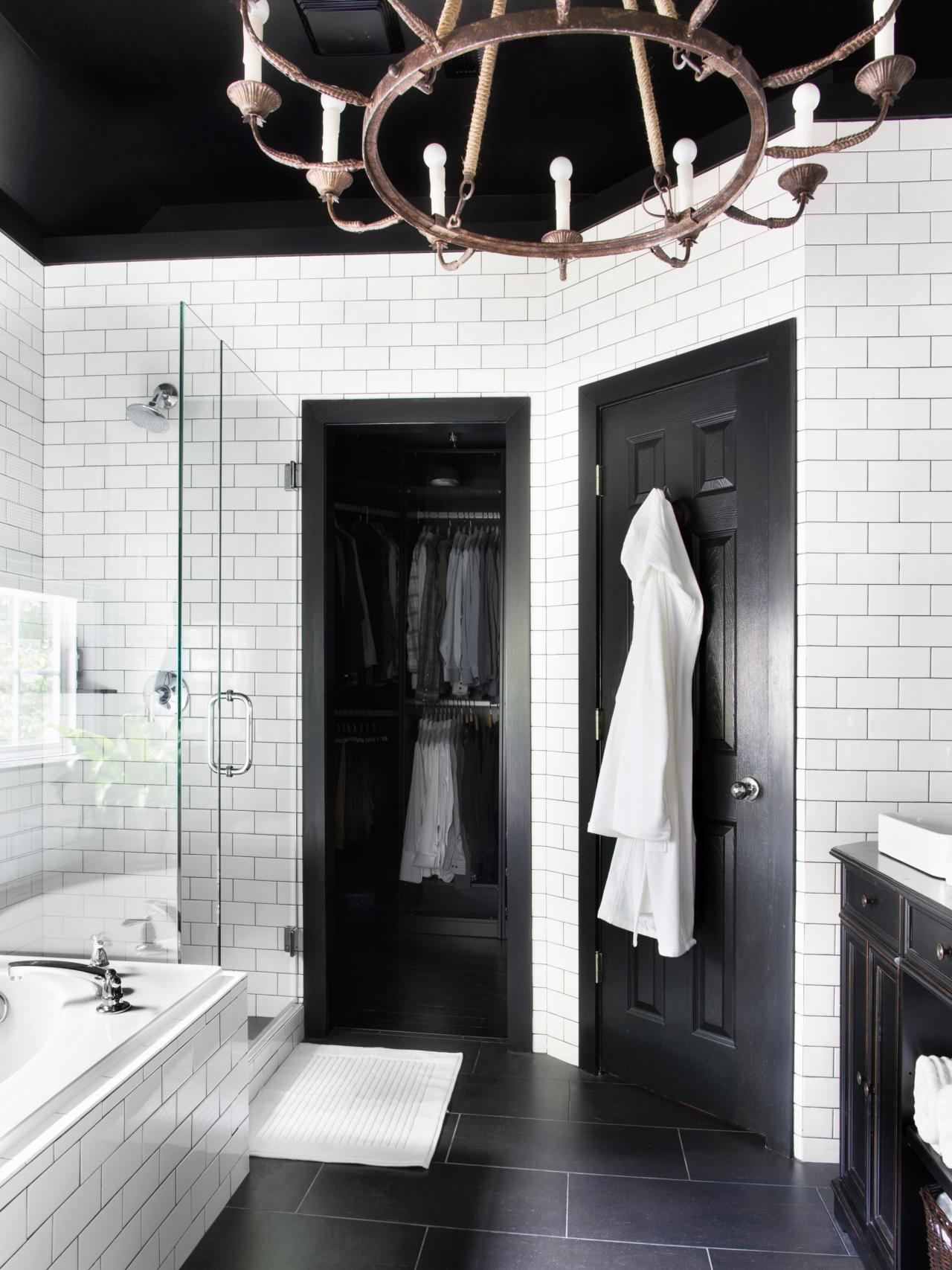 Timeless black and white master bathroom makeover for Bathroom design ideas black and white