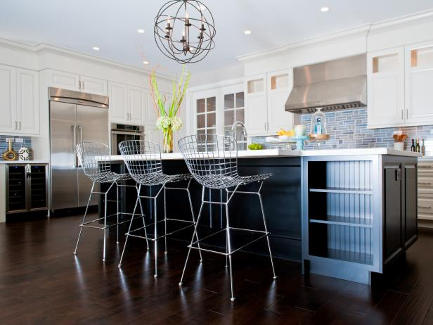 Metal Barstools  in Contemporary Kitchen