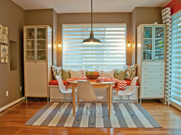 Eclectic Dining Room With Gray and White Striped Rug