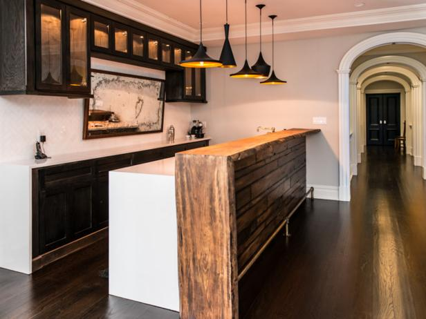 Black and White Kitchen with Wood Bar