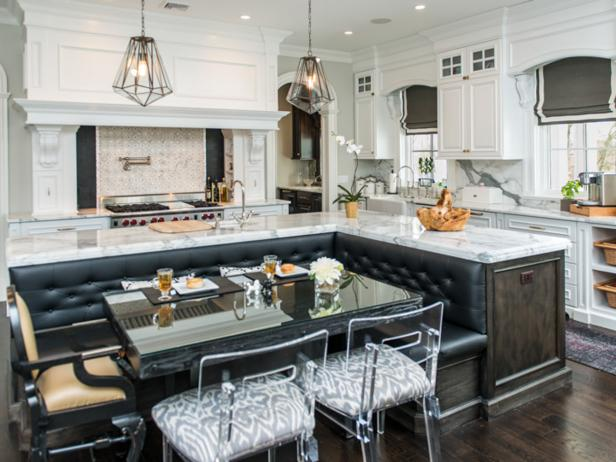 Transitional Eat-in Kitchen With Leather Banquette