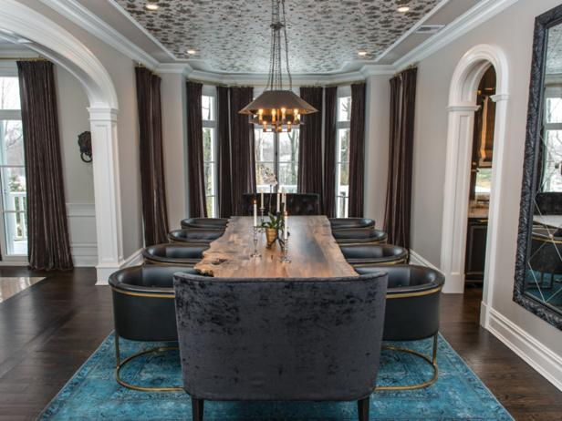 Gray Dining Room With Long Wood Dining Table and Blue Velvet Rug