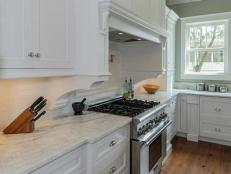 Traditional White Kitchen With Built-In Range Hood