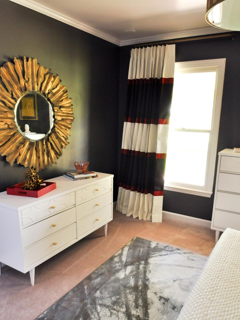eclectic black and red master bedroom evaru design hgtv