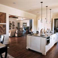 Polished Eat-In Kitchen With Oversized Kitchen Island