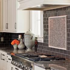 Smoky Gray Subway Tile in White Kitchen